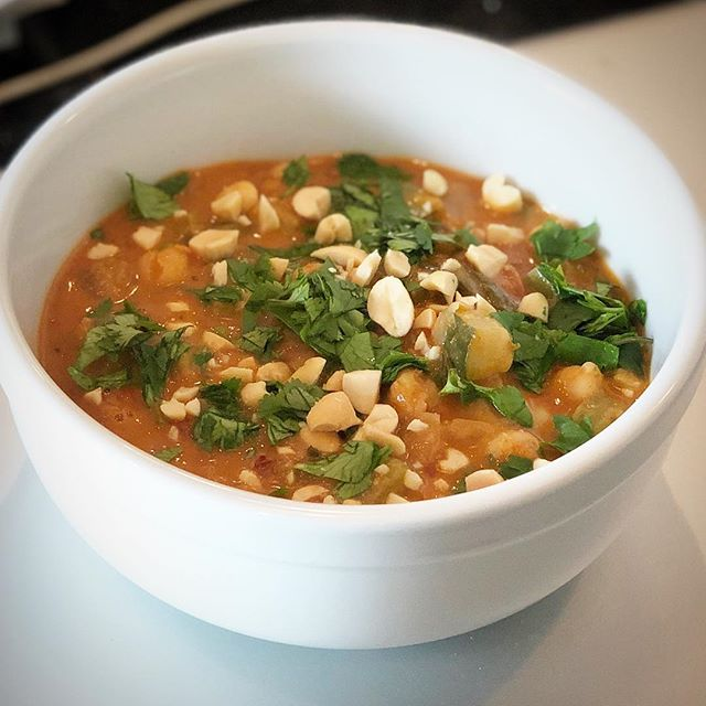 Made a little Vegan Thai Peanut Garbanzo Bean Curry for dinner tonight. Mega tasty. . . . . . #veganrecipe #chickpeas #thaichickpeastew #peanutbutter #cookingwithpeanuts #cilantro #coconutmilk #homemade #cookathome #appropriatelyspicy #greeencurry #spicy #peanuts