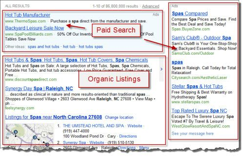 PAID SEARCH WILL APPEAR IN THE SECTIONS MARKED ABOVE AT ALL TIMES. ORGANIC ON THE OTHER HAND, WILL BE NATURALLY RANKED BASED ON CLICKS IN THE SECTION MARKED ABOVE BASED ON TRAFFIC.
