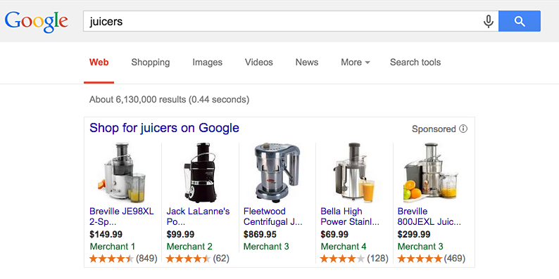 An example of how product ratings could look (image courtesy of Google)