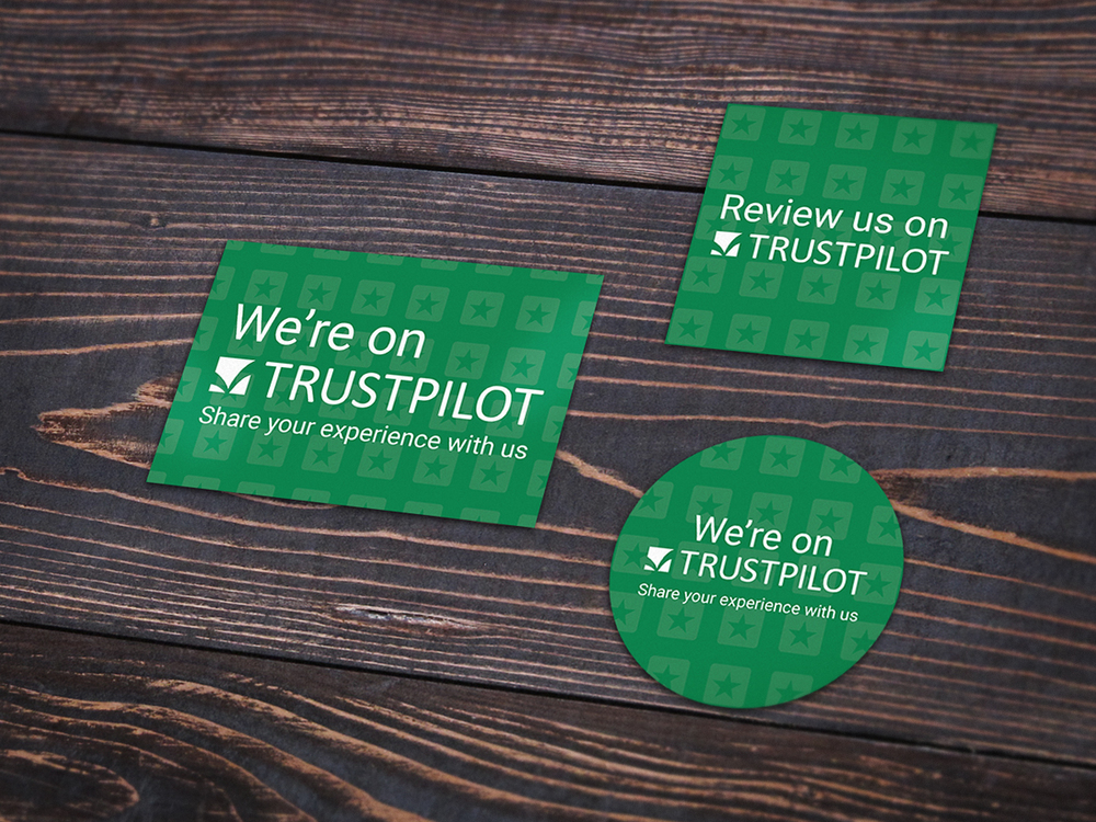 Examples of the Trustpilot sticker designs