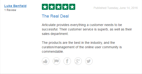 *A Trustpilot user leaves a high quality review for Articulate, a software company