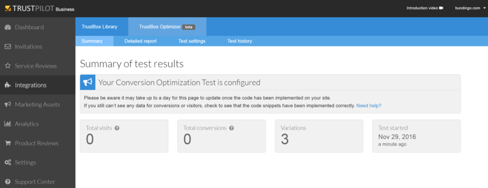 Sample results for a conversion optimization test.