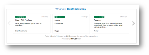 (Above) the ID Wholesaler home page, (below) their trusted Carousel reviews.
