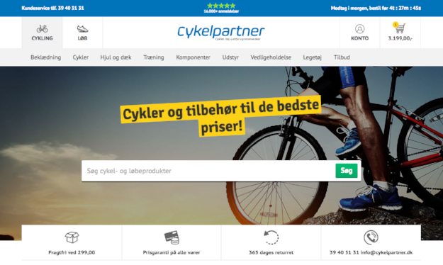 Cykelpartner features their achievement, collecting 16,000+ reviews, at the top of their website.