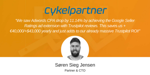 Cykelpartner reduces Adwords CPA by 11.14% with Trustpilot reviews