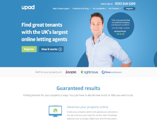 Upad takes a top-of-the-funnel marketing approach to showcasing their Trustpilot reviews on their home page