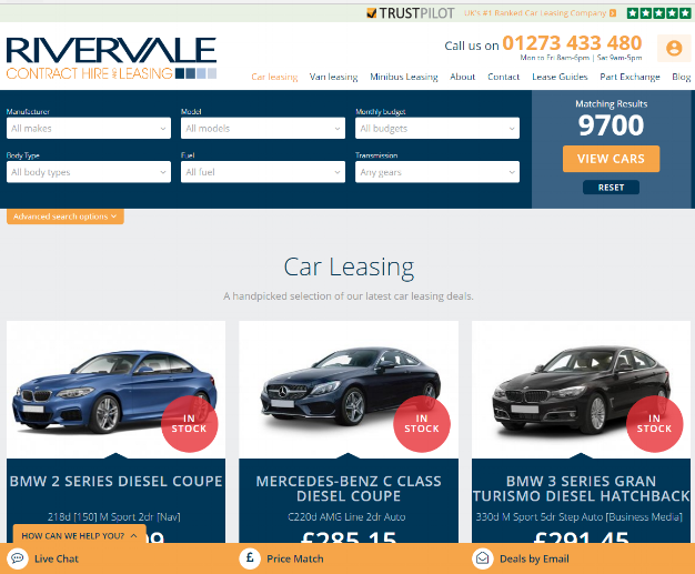 Car Search Page Trustpilot Integration