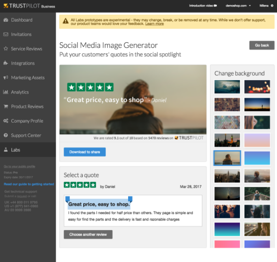 Trustpilot Business Product social media image and review