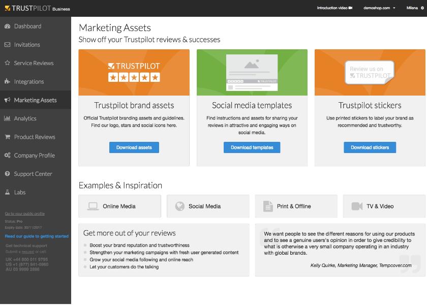 Trustpilot's Marketing Assets