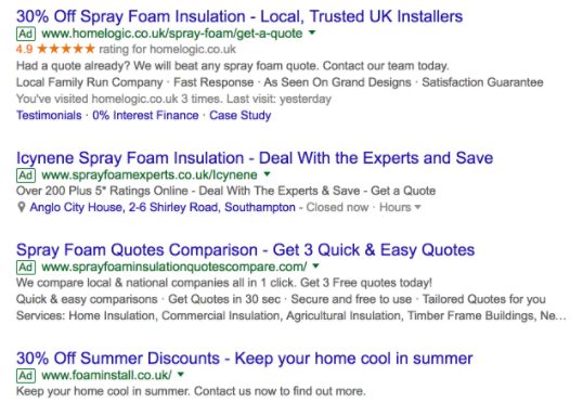 Example of Home Logic Google Seller Ratings