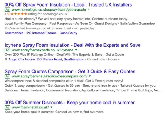 Example of Home Logic Google Seller Ratings