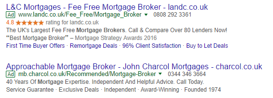 The top ad has a seller rating, the bottom one doesn't. Which one would you click?