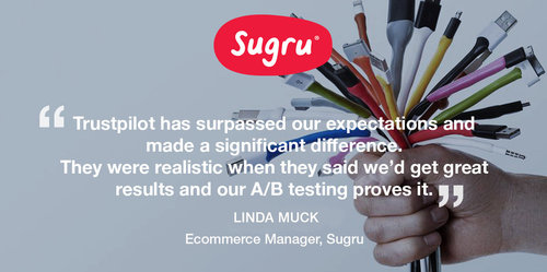Sugru increases conversion rates, using Trustpilot
