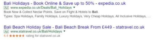 Example of headline with discount VS headline with price