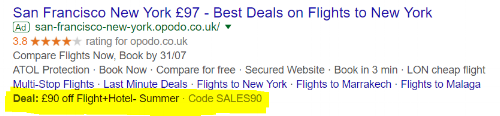 Example of an ad extension featuring a deal