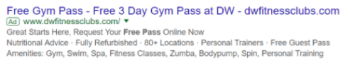 Example of an ad mentioning a free day pass