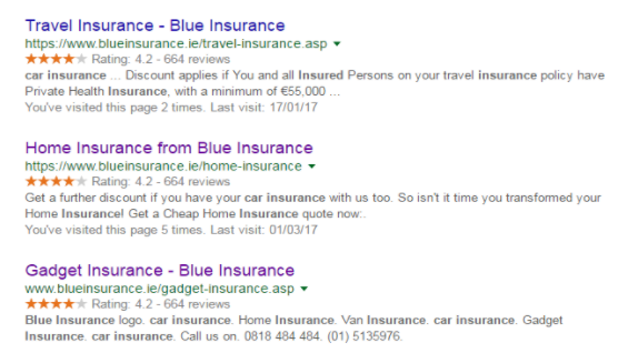 Blue Insurance's Rich Snippets