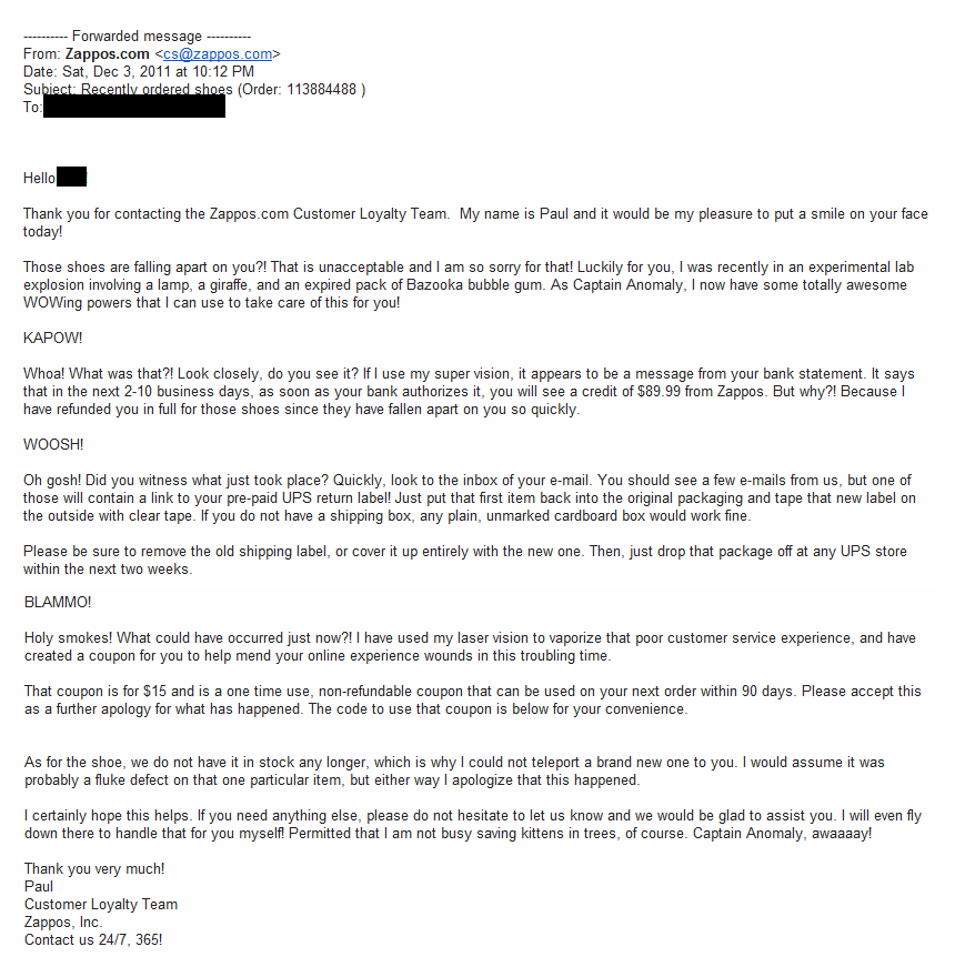 Zappos customer service email
