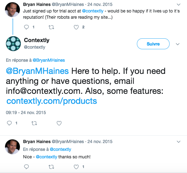 An example of customer service Tweet from Contextly