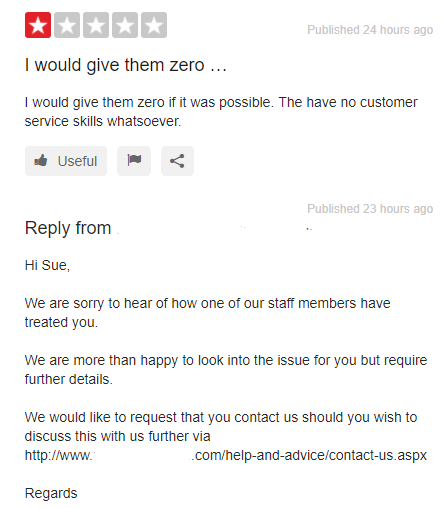 Example of reply to a negative review