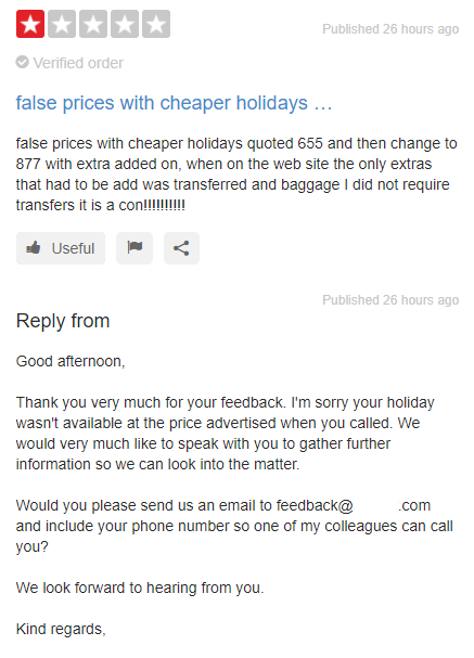 Example of customer service listening to and learning from                                   negative customer feedback