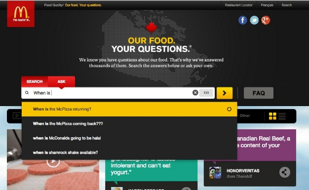 McDonald's autofills their search bar with commonly asked questions