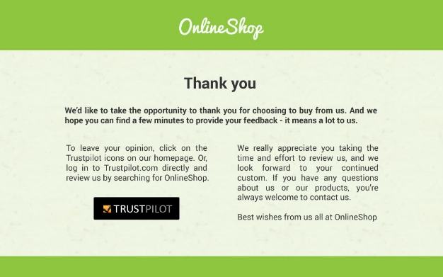 OnlineShop asks for a review after every transaction using Trustpilot