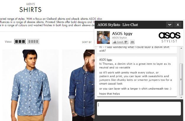 Asos has a 'stylist' pop-up customer service live chat function on its site