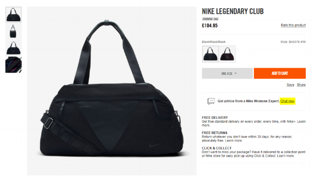 Nike Store offers a live chat function right on their product page