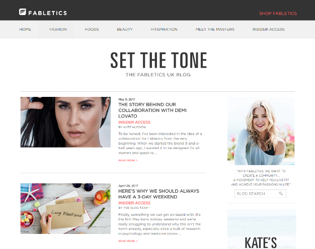 Fabletics's offers lifestyle content suited to their audience