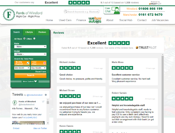 Fords of Winsford review page is dedicated to highlighting reviews