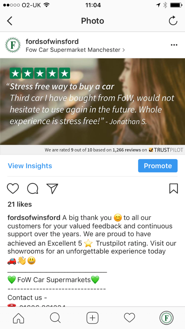 Fords of Winsford' uses reviews as social proof on their Instagram account