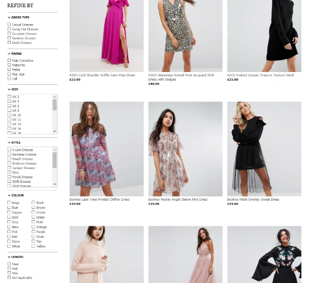 ASOS's filter function allows shoppers to quickly dwindle possibilities