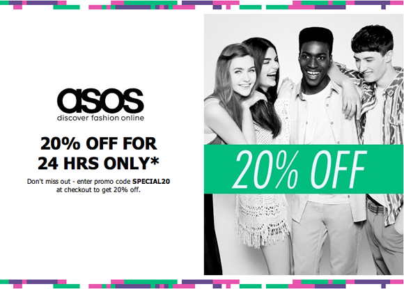 ASOS regularly offers discounts for short periods of time