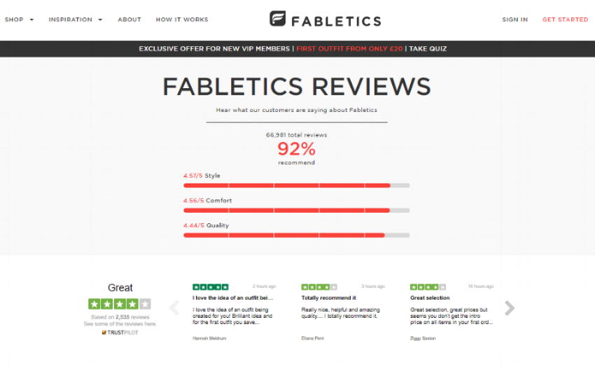 Fabletics have an entire webpage dedicated to reviews