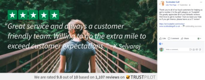 Scottsdales uses reviews as social proof on Facebook