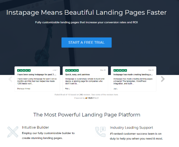 The Instapage landing page featuring Trustpilot's Trustbox