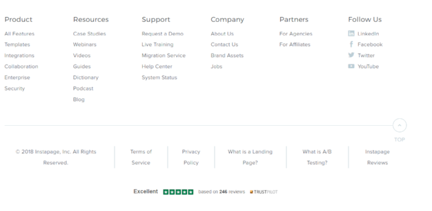 The Instapage Trustbox, featured on the footer of this page.