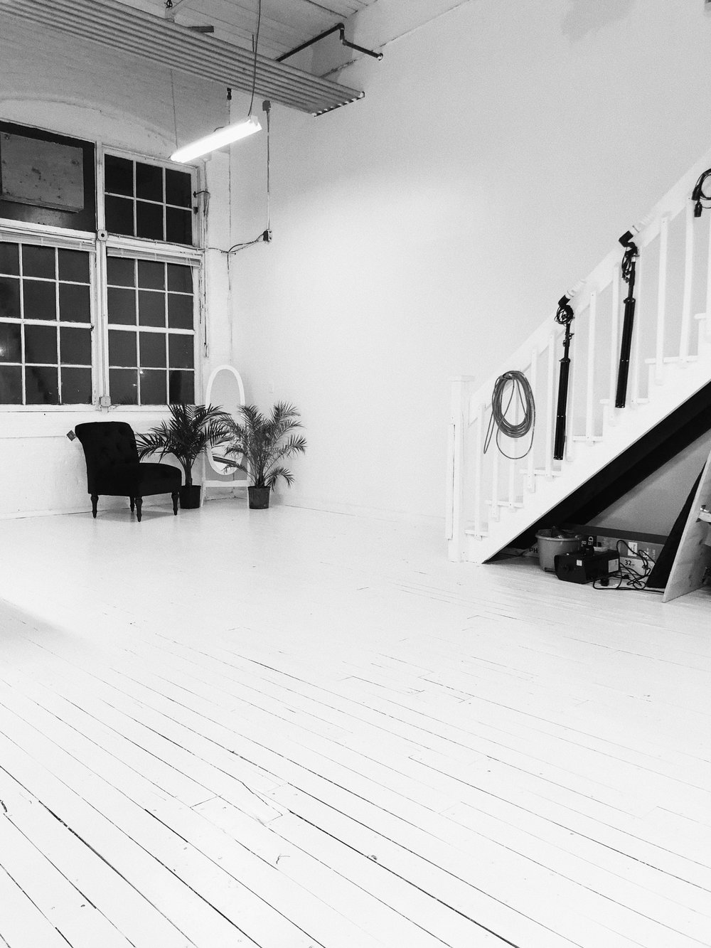 Feature 2 - White wood floor, 25 ft. ceilings with industrial windows.
