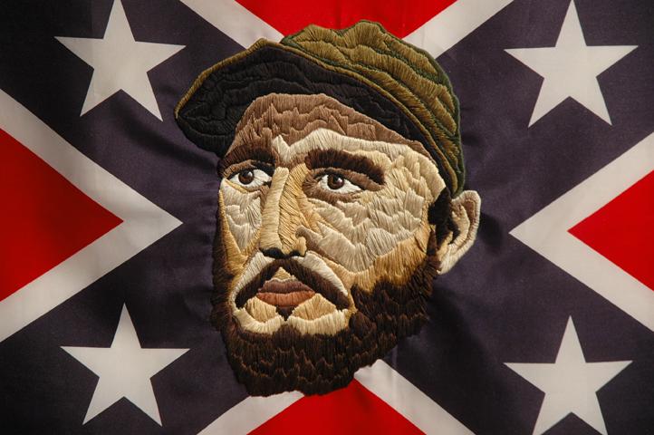 Enzo Moscarella with Jasmin Guerrero _Esto No Pasa En Cuba Detail 2011 _48x72 _flag embroidery floss.jpg