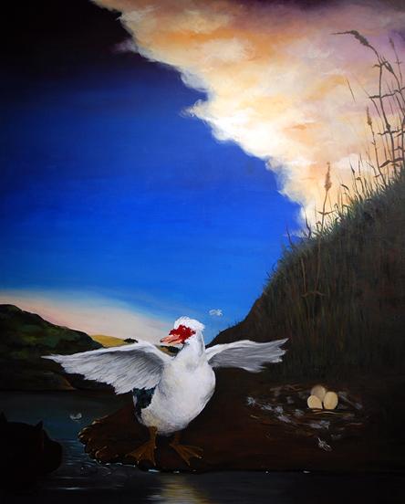 Enzo Moscarella _The Threatened Duck 2011 _60x72 _Acrylic paint.jpg