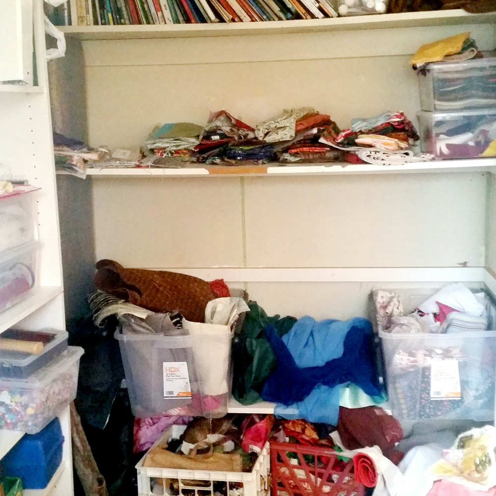 Once again….this is a perfect example of what we will avoid in our next space. We have some great ideas on how to avoid this closet-o-fabric sadness.