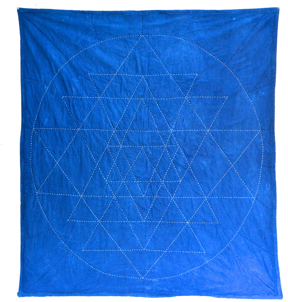 Sacred Geometry Quilt in Indigo. Made by yours truly! Available here or here!