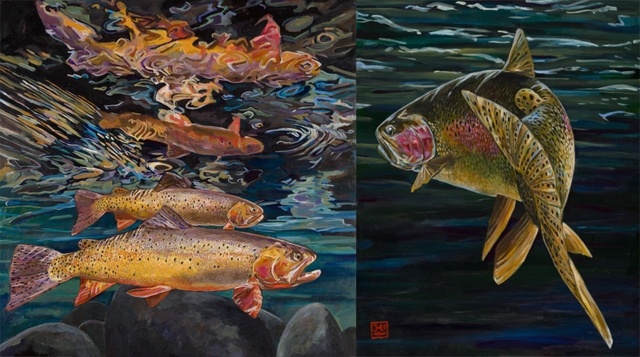 Just a few examples of the incredible ways fish can suspend in Josh's artwork, and our imaginations.