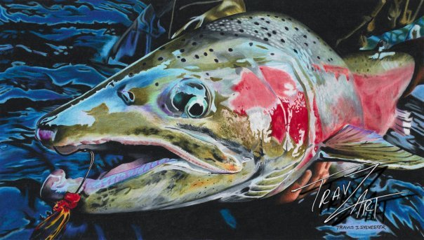 """Goliath"" is drawn from a Bryan Huskey #keepemwet image of a wild N Umpqua winter run steelhead caught by angler Adam Haarberg and carefully lifted just above the water's surface for the few seconds required for a photo."