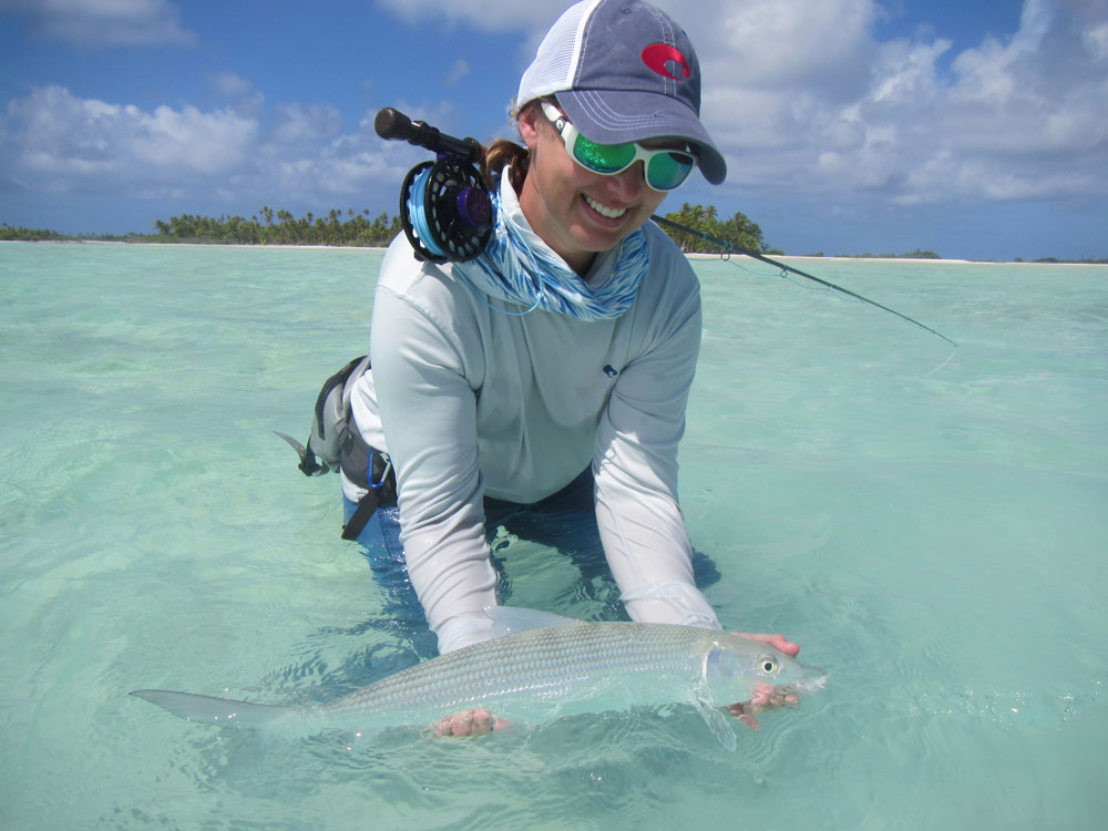 The author Sascha Clark Danylchuk cradling perfection in the form of a bonefish.