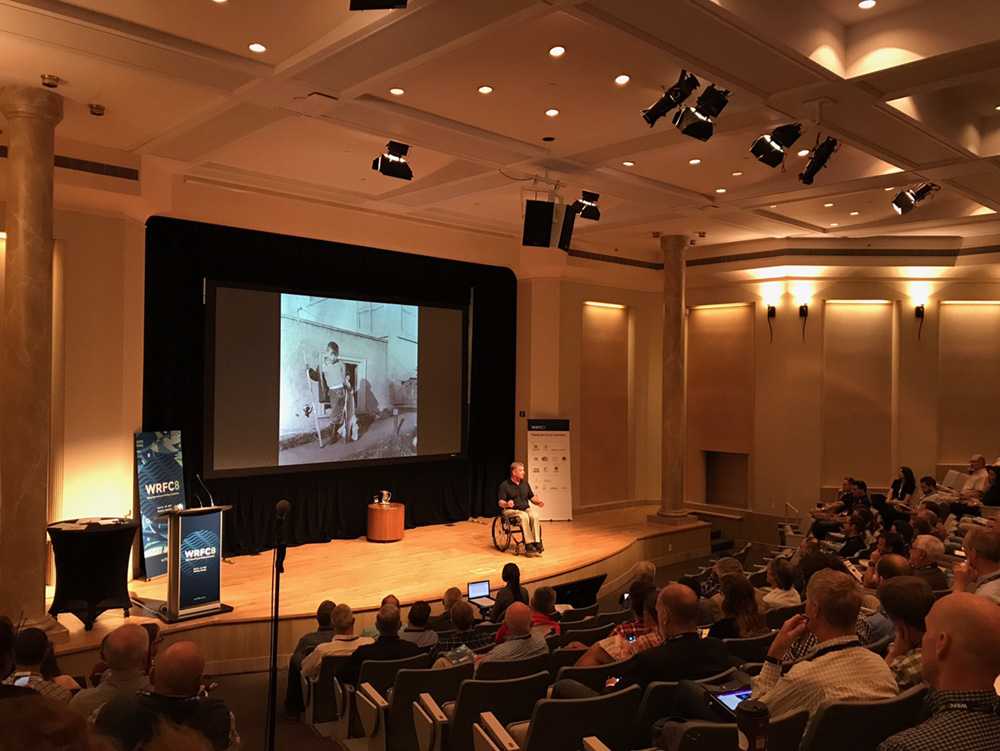 Rick Hansen (Man In Motion) gives an inspirational opening address at the 8th World Recreational Fishing Conference about the impacts of fishing on his life. Andy Danylchuk photo.