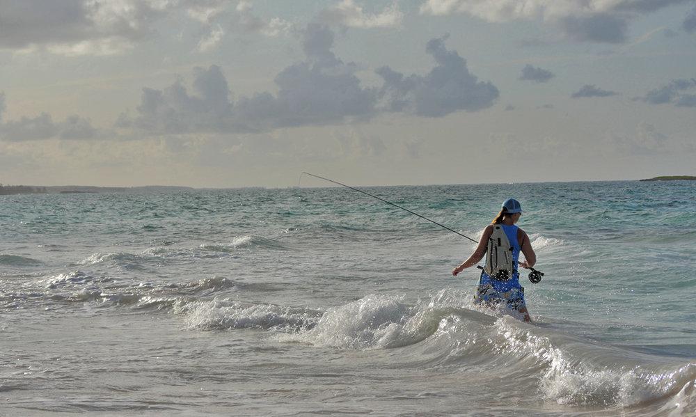 Sascha fishing in the Bahamas. Andy Danylchuk photo.