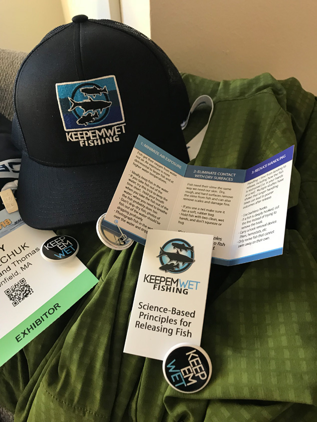Inside the Keepemwet fish bowls info cards and pins shared our catch-and-release best practices and tips.
