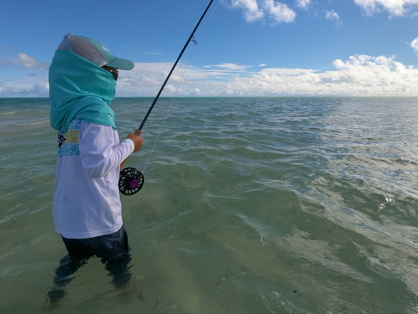 My seven year old reeling in her first unassisted bonefish. Andy Danylchuk photo